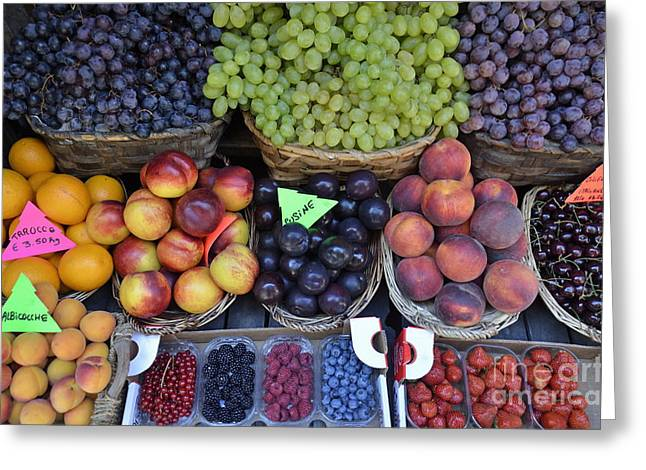 Summer Variety Of Fruits In Italy Greeting Card by Sami Sarkis