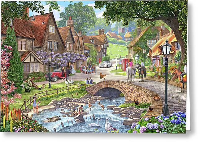 Summer Village Stream ( Part Of Winter, Summer Pair) Greeting Card