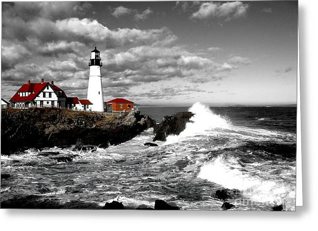 Summer Waves Red Stroke Bw Greeting Card