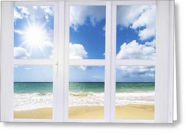 Summer Window Greeting Card by Amanda Elwell
