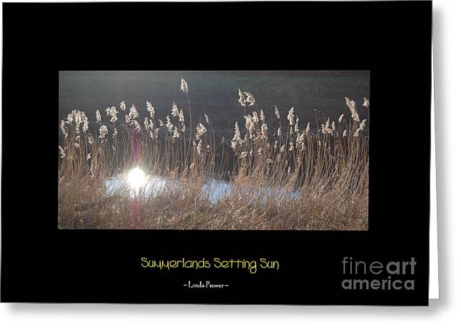 Summerlands Setting Sun Greeting Card by Linda Prewer