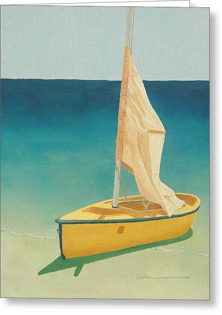 Summer's Boat Greeting Card by Diane Cutter