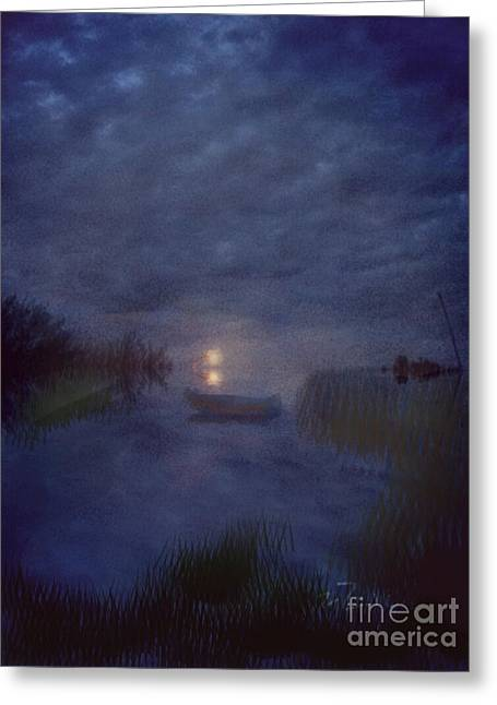Summer's Moon Greeting Card by Liz Campbell