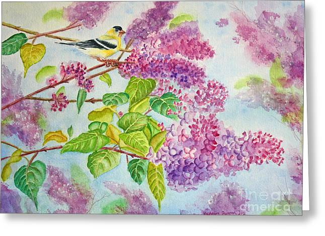 Summertime Arrival II - Goldfinch And Lilacs Greeting Card by Kathryn Duncan