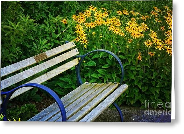 Greeting Card featuring the photograph Summertime Bench by Maria Janicki
