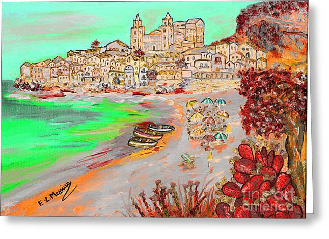 Greeting Card featuring the painting Summertime In Cefalu' by Loredana Messina
