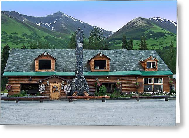 Summit Lake Lodge Alaska Greeting Card by Aimee L Maher Photography and Art Visit ALMGallerydotcom