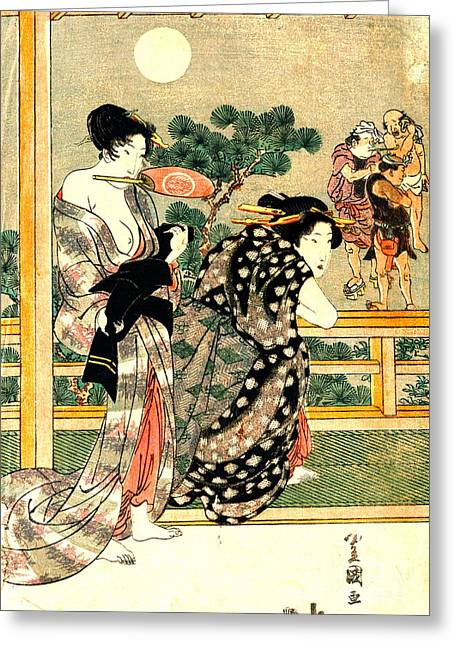 Sumo Wrestling - Full Moon Diptych 1818 Left Greeting Card by Padre Art