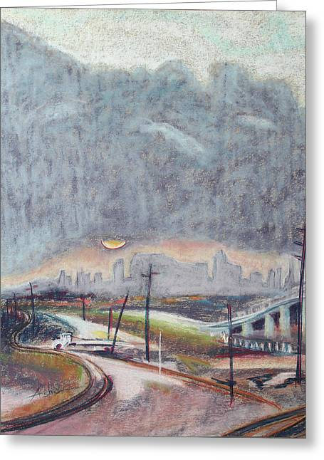 Sun And Clouds Over San Francisco With West Oakland Overpass And Tracks Greeting Card