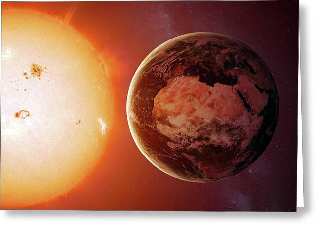 Sun And Earth From Space Greeting Card