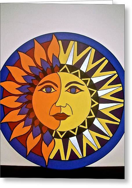 Sun And Moon Greeting Card by Stephanie Moore