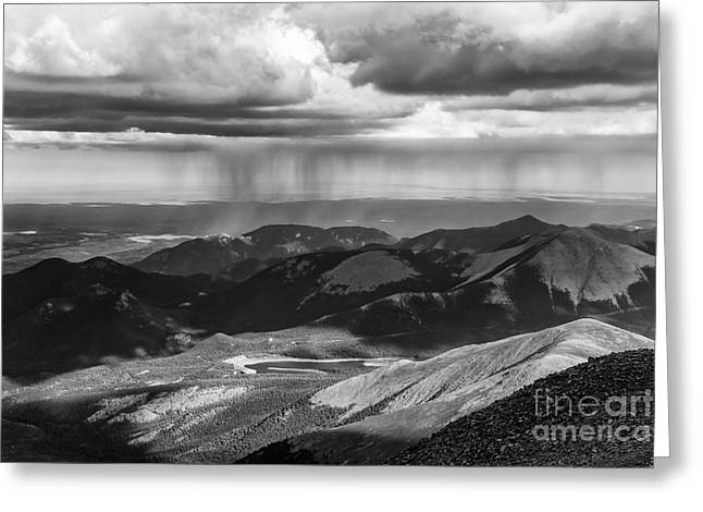 Sun And Rain On Pikes Peak Greeting Card