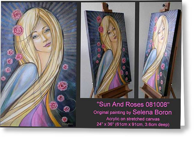 Greeting Card featuring the painting Sun And Roses 081008 Comp by Selena Boron