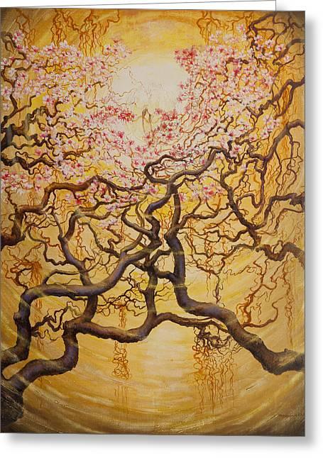 Sun And Sakura Greeting Card by Vrindavan Das