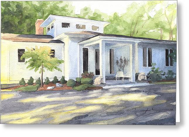 Sun And Shadow House Watercolor Portrait Greeting Card by Mike Theuer