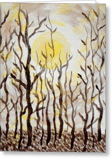 Sun And Trees Greeting Card by Valerie Howell