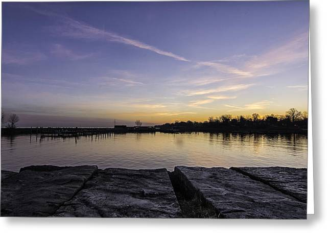 Sun At The Docks Greeting Card by Kris Rowlands