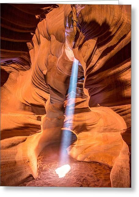 Sun Beam In Antelope Canyon Greeting Card