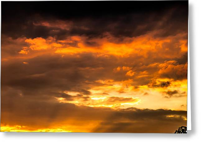Sun Beams And Clouds Greeting Card by Optical Playground By MP Ray