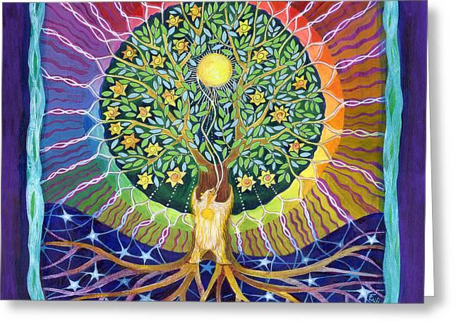 Sun Bear Star Tree Greeting Card by Faith Nolton