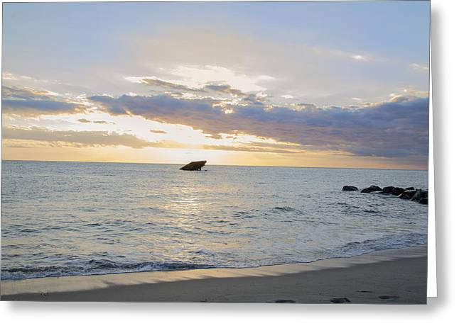 Sun Behind The Clouds - Sunset Beach - Cape May Greeting Card by Bill Cannon