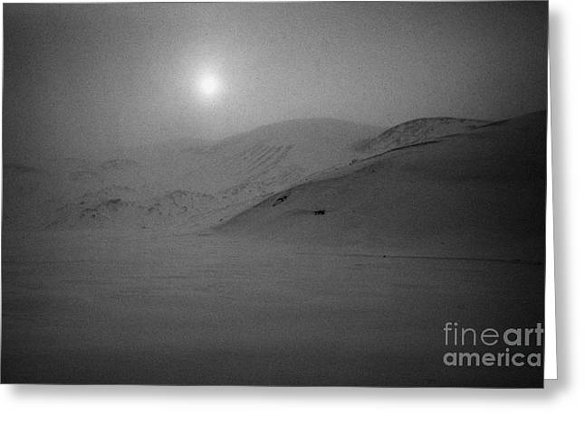 sun breaking through white out snowstorm whalers bay deception island Antarctica Greeting Card