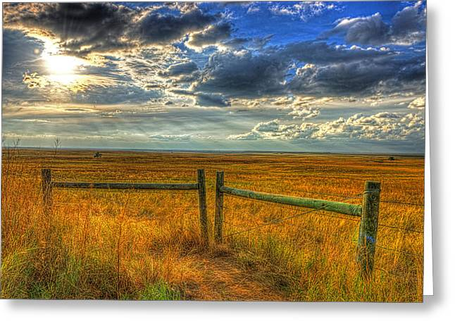Sun Burst Over The Plains Greeting Card