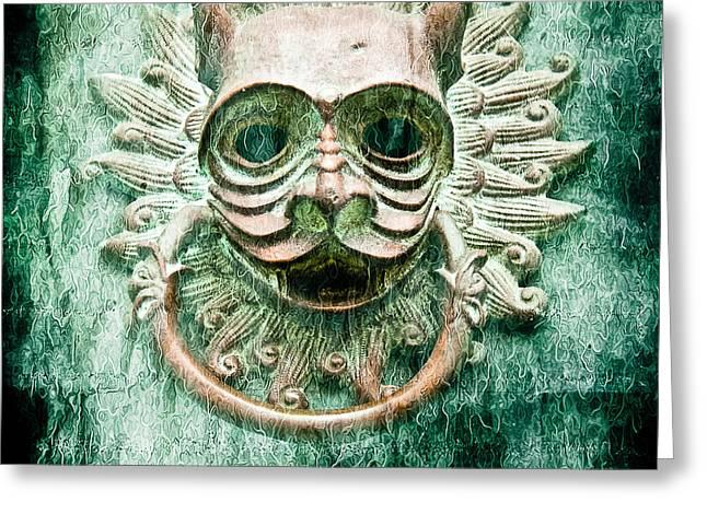 Sun Cat Door Knocker Old Polar Greeting Card