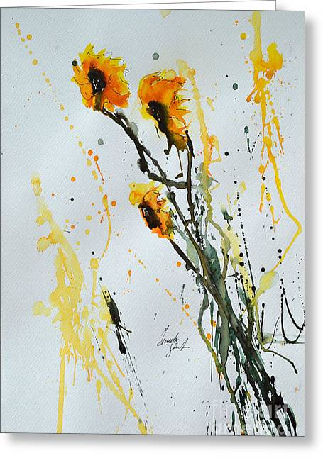 Sun-childs- Flower Painting Greeting Card by Ismeta Gruenwald