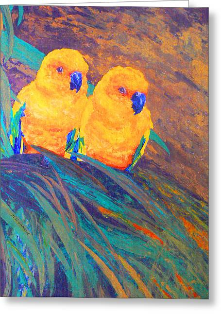 Sun Conures Greeting Card by Margaret Saheed