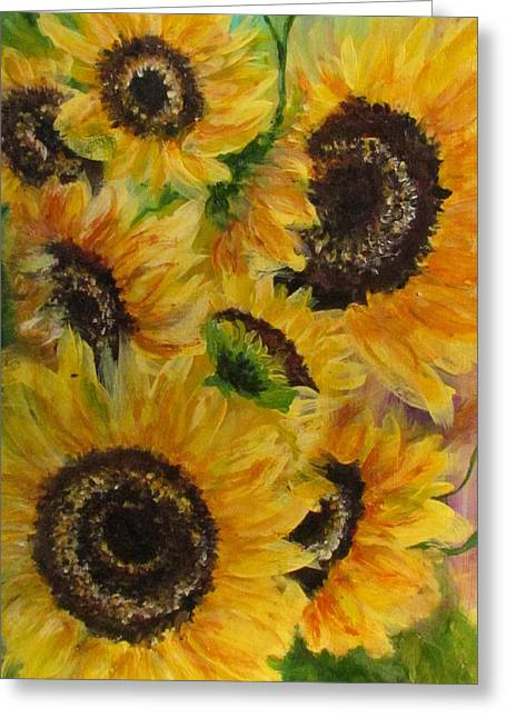 Greeting Card featuring the painting Sun Danse by France Laliberte