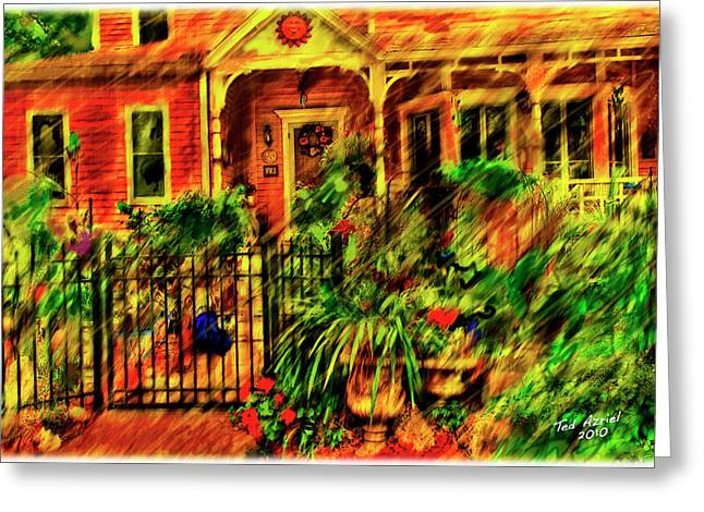 Greeting Card featuring the painting Sun Dial House by Ted Azriel