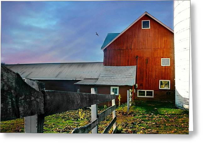 Sun Down Farm Greeting Card by Diana Angstadt