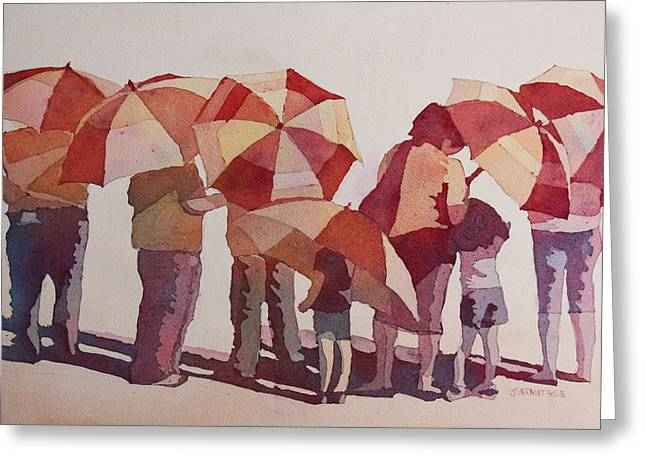 Sun Drenched Parasols  Greeting Card by Jenny Armitage