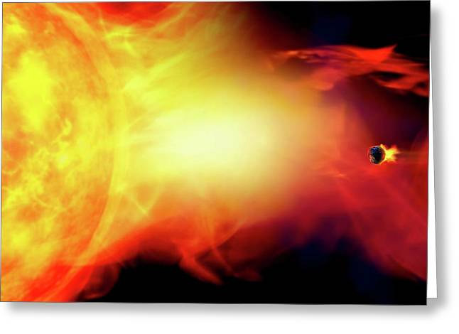 Sun Engulfing The Earth Greeting Card by Victor Habbick Visions/science Photo Library