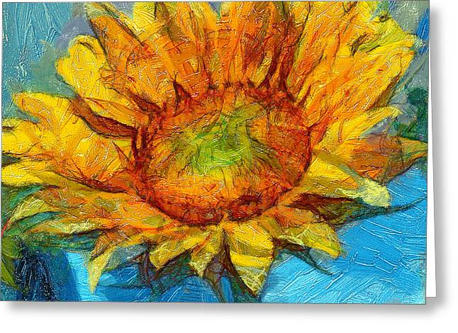Sun Flower Aka Gogh 4 Greeting Card by Yury Malkov