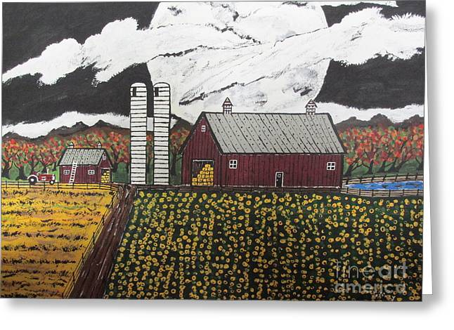 Sun Flower Farm Greeting Card by Jeffrey Koss