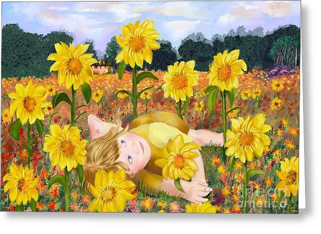 Sun Flower Girl Greeting Card