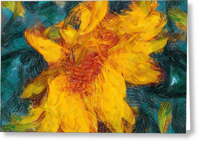 Sun Flowering Greeting Card by Yury Malkov