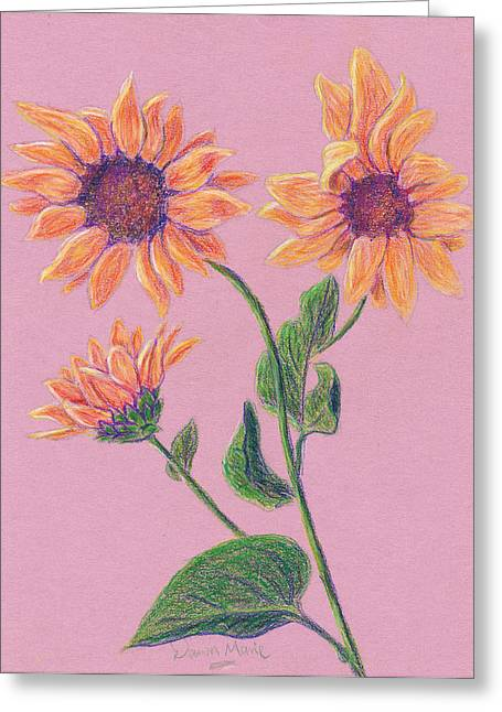 Sun Flowers Greeting Card by Dawn Marie Black