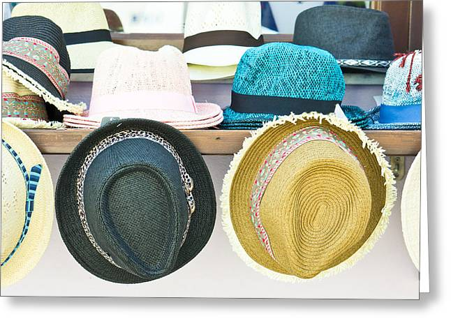 Sun Hats Greeting Card by Tom Gowanlock