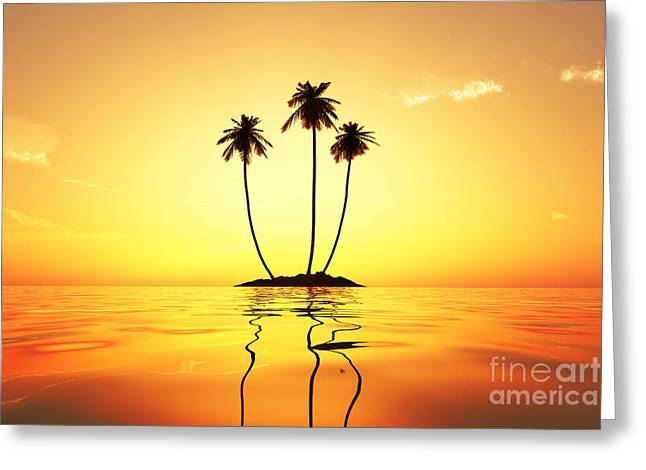Sun In Palms Greeting Card by Aleksey Tugolukov