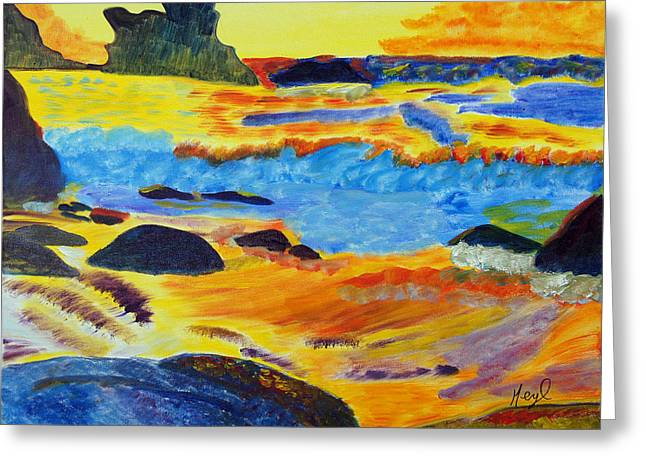 Greeting Card featuring the painting Sun-kissed Seas by Meryl Goudey