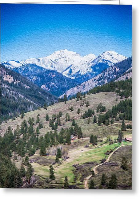 Sun Mountain View Of Mt Gardner In Springtime Greeting Card by Omaste Witkowski