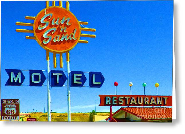 Sun N Sand Motel 20130307 Greeting Card by Wingsdomain Art and Photography