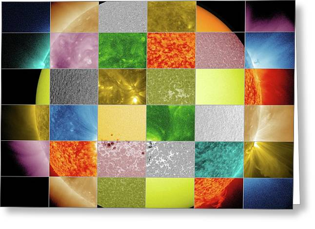 Sun Observed At Different Wavelengths Greeting Card by Nasa/sdo/goddard Space Flight Center