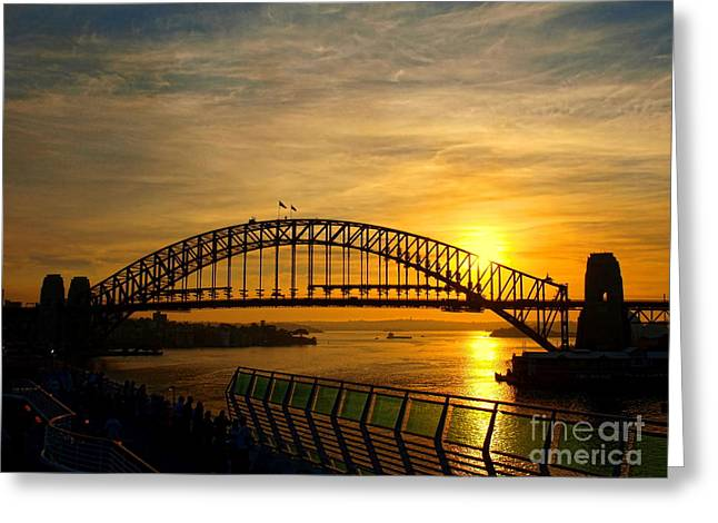 Greeting Card featuring the photograph Sun On The Bridge by Trena Mara