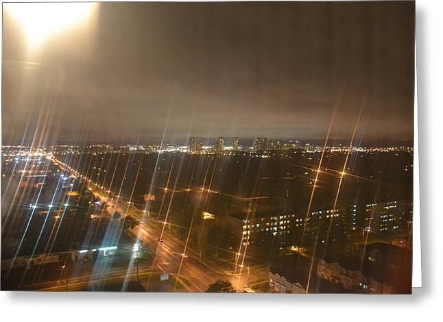 Sun Over City Lights Greeting Card by Naomi Berhane