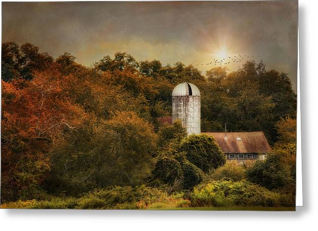 Sun Over Silo Greeting Card by Robin-Lee Vieira