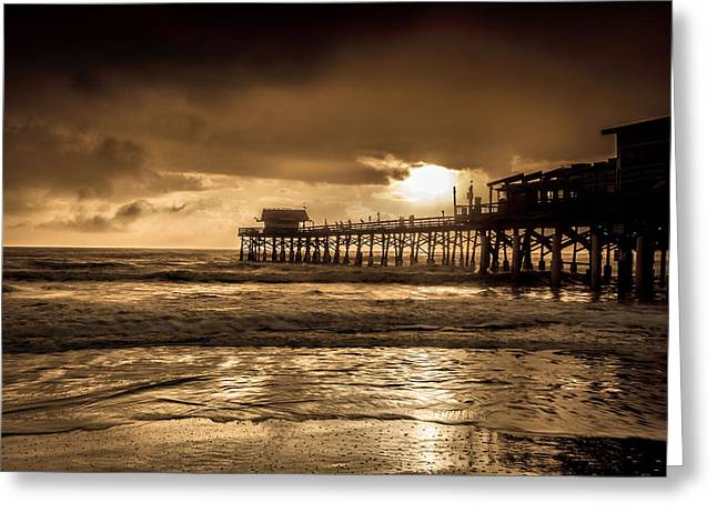Sun Over The Pier Greeting Card by Steven Reed